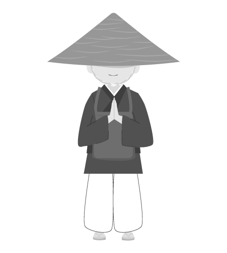 お坊さんのイラスト12(白黒素材)