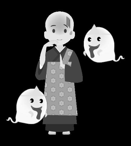 お坊さんのイラスト13(白黒素材)