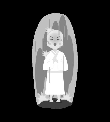 お坊さんのイラスト14(白黒素材)