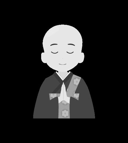 お坊さんのイラスト15(白黒素材)
