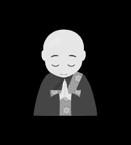 お坊さんのイラスト16(白黒素材)