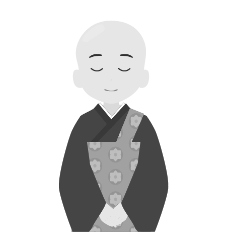 お坊さんのイラスト17(白黒素材)