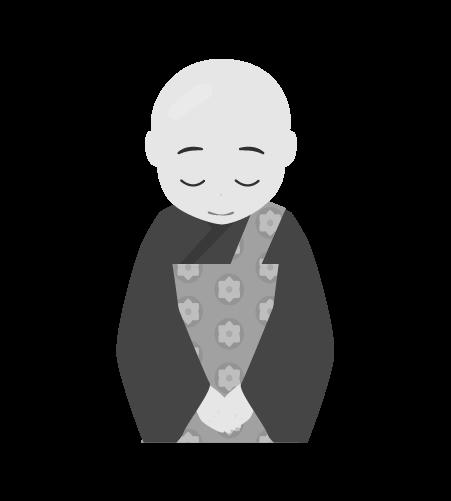 お坊さんのイラスト18(白黒素材)
