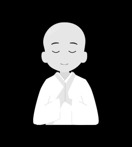お坊さんのイラスト20(白黒素材)