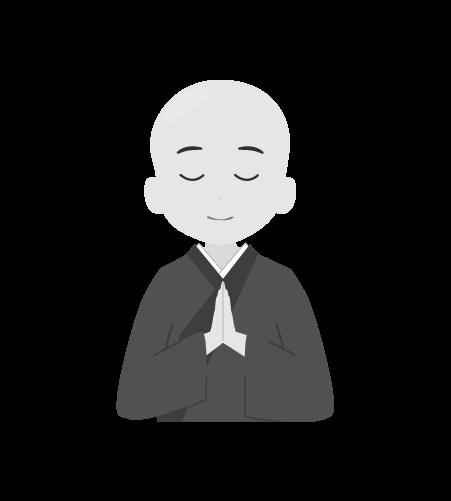 お坊さんのイラスト21(白黒素材)