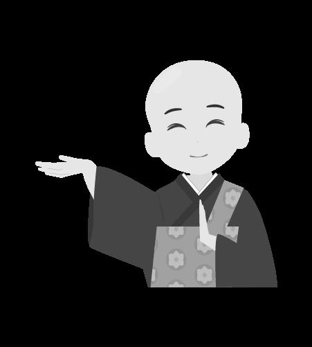 お坊さんのイラスト22(白黒素材)