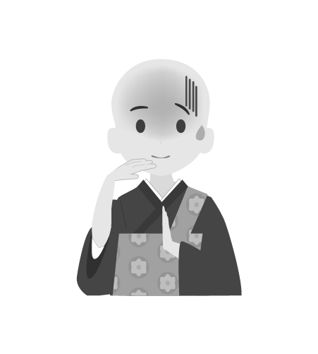 お坊さんのイラスト25(白黒素材)