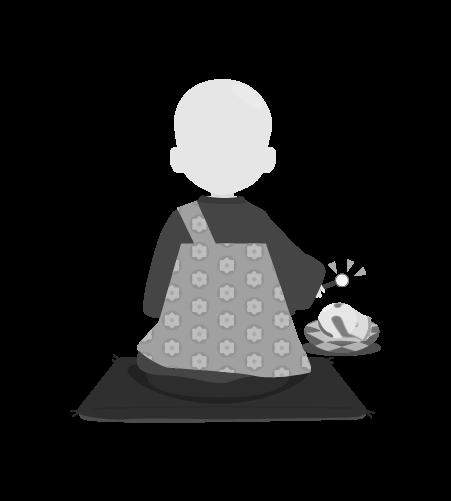 お坊さんのイラスト29(白黒素材)