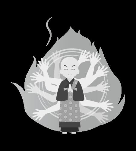 お坊さんのイラスト31(白黒素材)