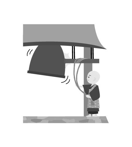 お坊さんのイラスト33(白黒素材)