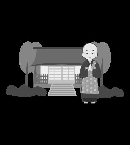 お坊さんのイラスト34(白黒素材)