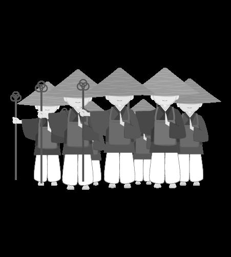 お坊さんのイラスト35(白黒素材)