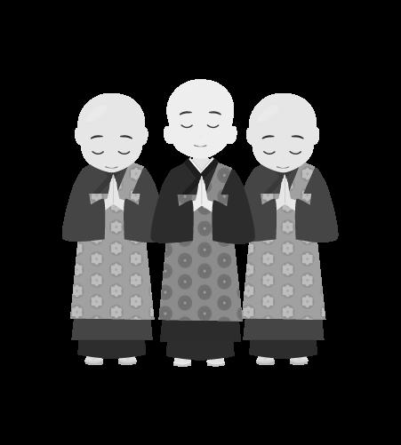 お坊さんのイラスト36(白黒素材)