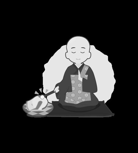 お坊さんのイラスト37(白黒素材)