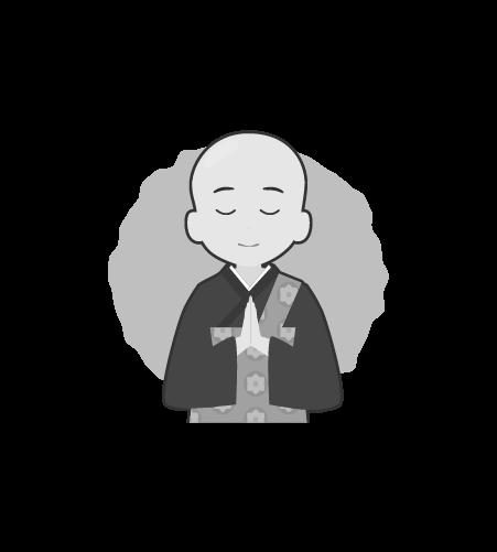 お坊さんのイラスト38(白黒素材)