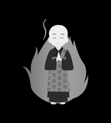 お坊さんのイラスト39(白黒素材)