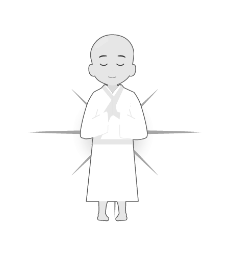 お坊さんのイラスト40(白黒素材)