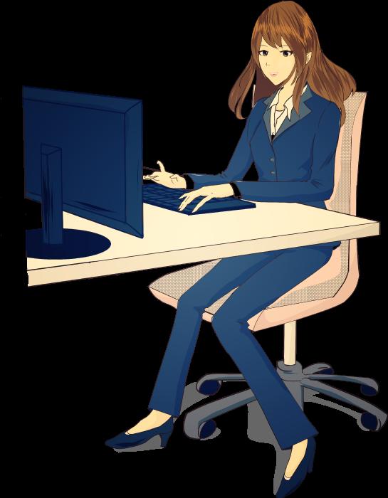 オフィスで働くスーツの女性のイラスト