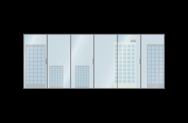 オフィスから見る都会のイラスト