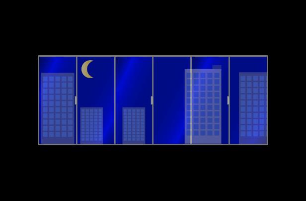 夜のオフィスの窓のイラスト