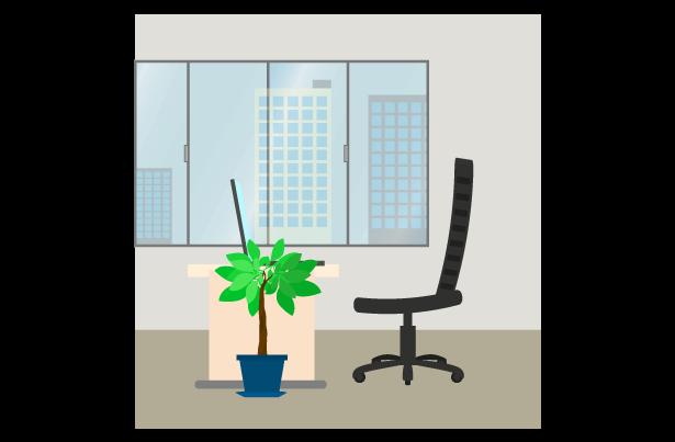 窓際のオフィスのイラスト