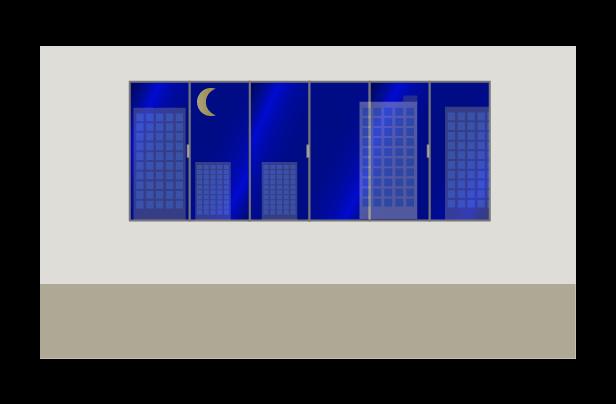 夜のオフィスのイラスト