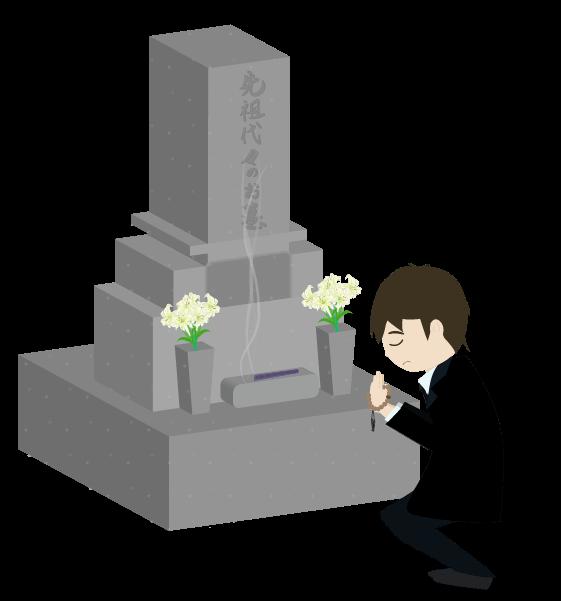 お墓参りする人のイラスト