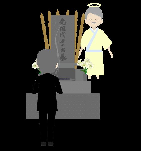 お墓参りを見守る先祖のイラスト