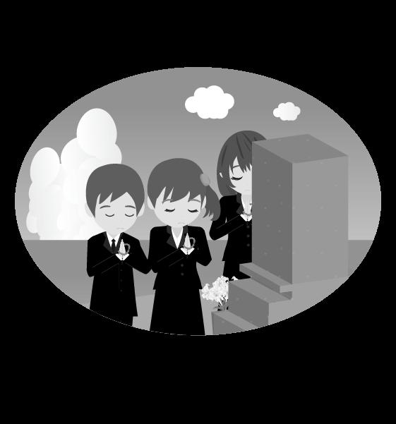 お墓参りのイメージ挿絵(白黒)のイラスト