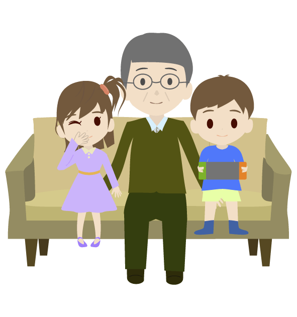 孫とおじいちゃんのイラスト