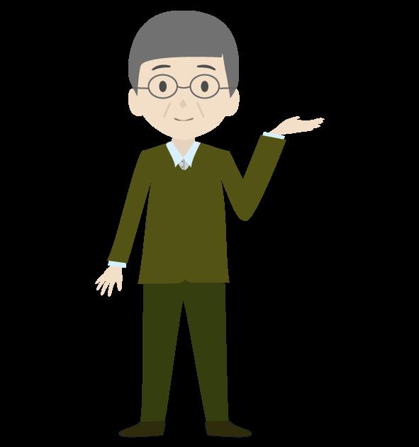 案内おじいちゃん(左手)のイラスト