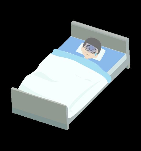 寝込むおじいちゃんのイラスト