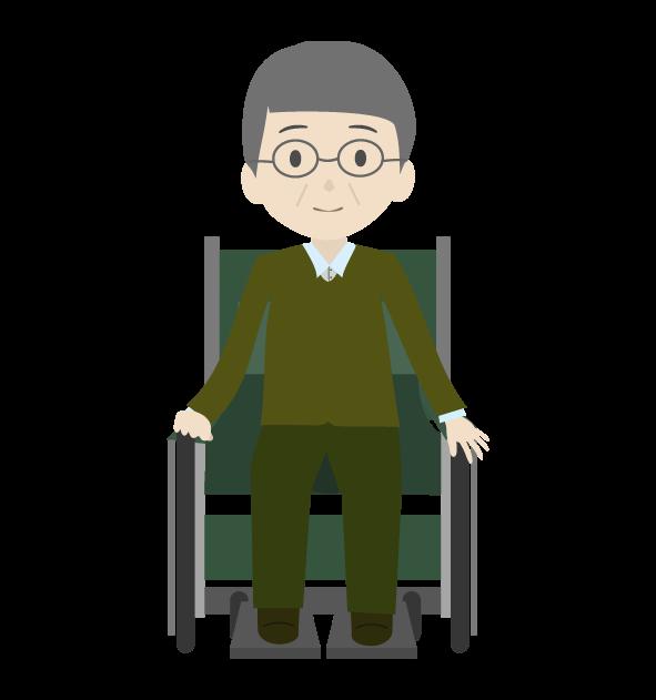 車椅子とおじいちゃんのイラスト