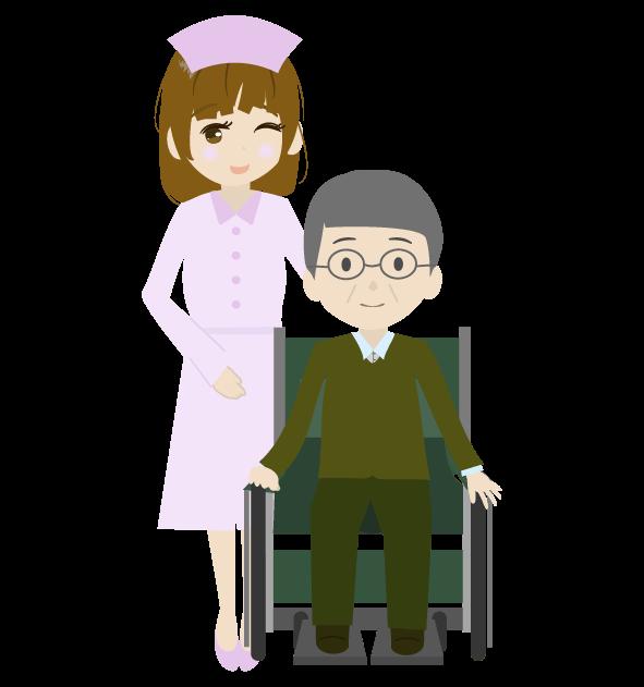 看護師とおじいちゃんのイラスト