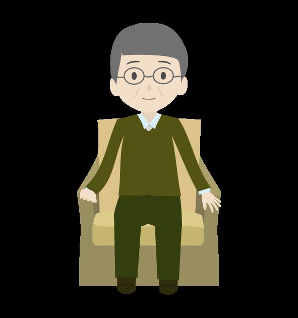 座るおじいちゃん2のイラスト