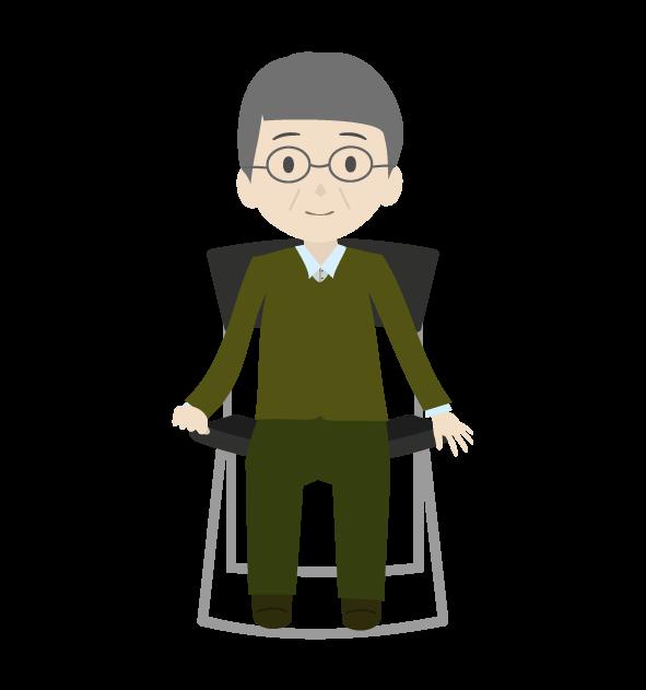 座るおじいちゃん3のイラスト
