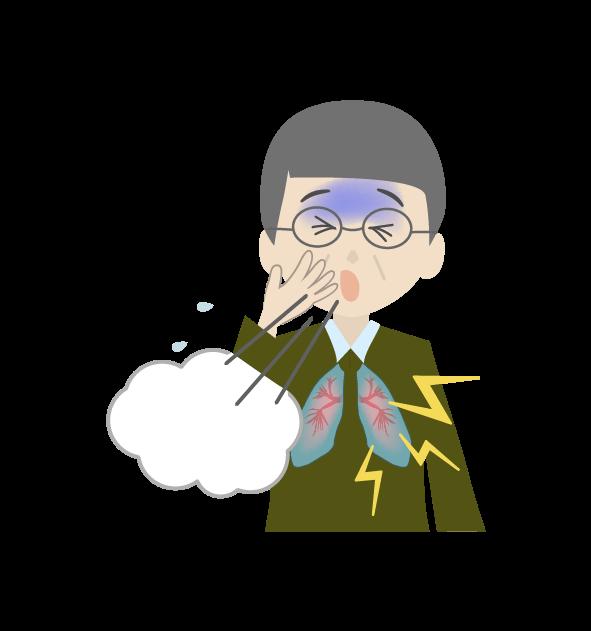 咳き込むおじいちゃんのイラスト