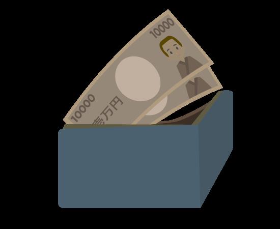 財布とお札のイラスト