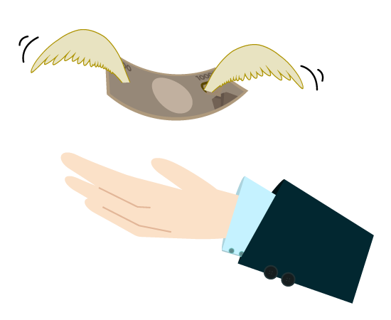 ビジネスマンと羽のお札のイラスト