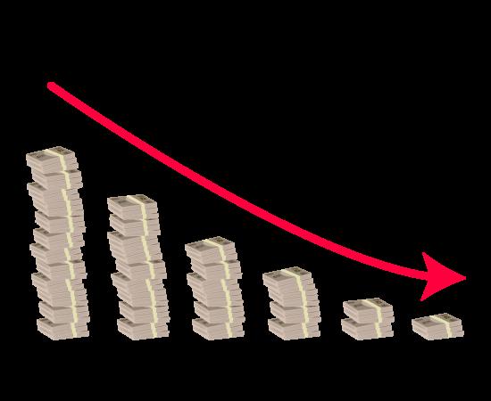 お金グラフ(右肩下がり)のイラスト