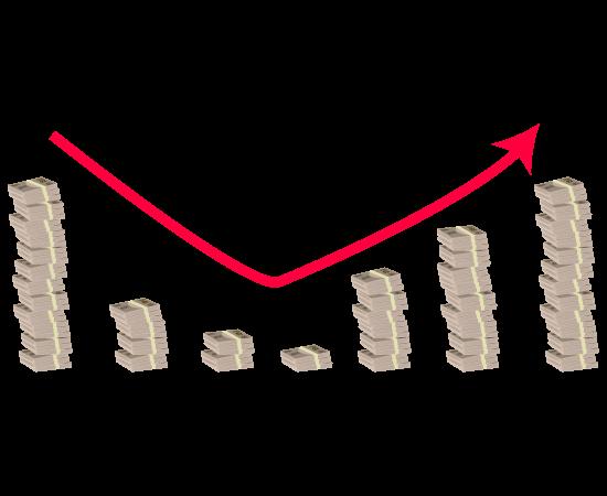 お金グラフ(v字回復)のイラスト