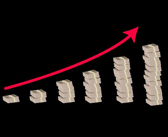 お金グラフ(右肩上がり)のイラスト