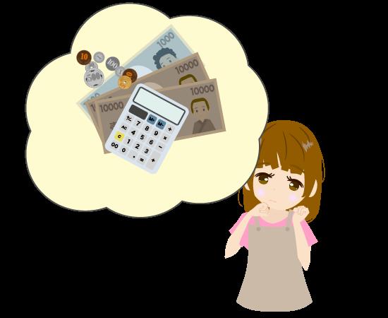 節約を考える主婦のイラスト