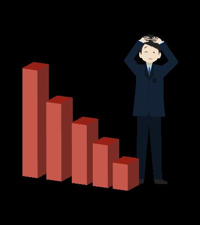 売り上げダウンとグラフとビジネスマンのイラスト