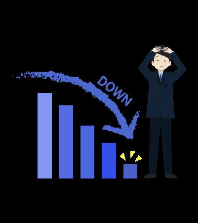 売り上げダウンとグラフとビジネスマンのイラスト2