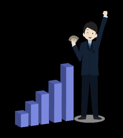 売り上げアップとグラフとビジネスマンのイラスト