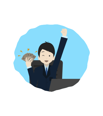 お金とビジネスマンのイラスト3