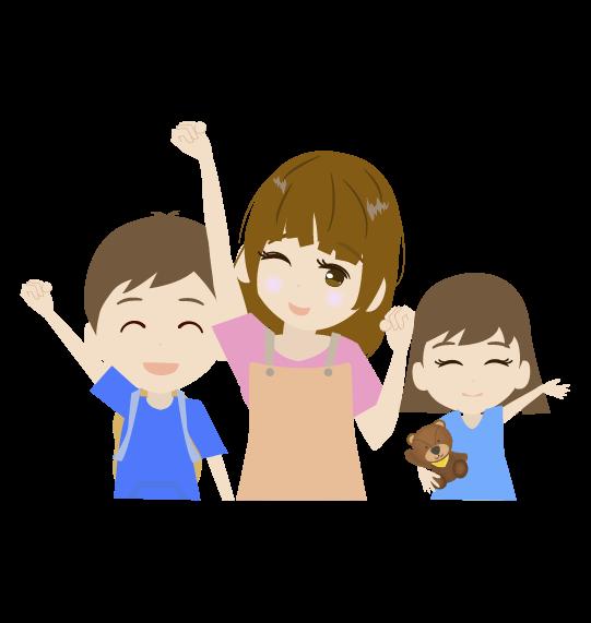 お母さんと子ども達のイラスト