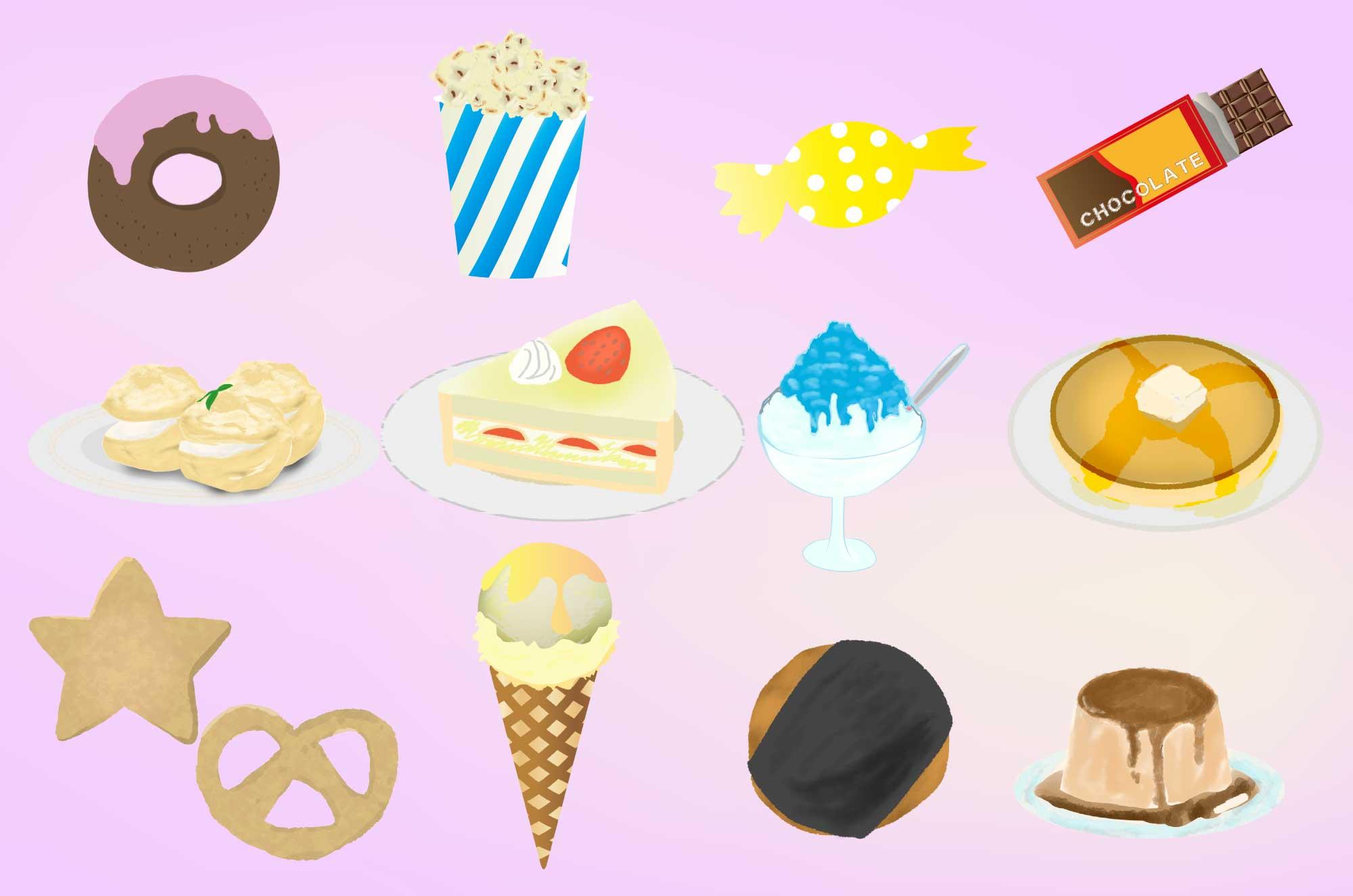 お菓子の無料イラスト - 和・洋のフリー素材まとめ