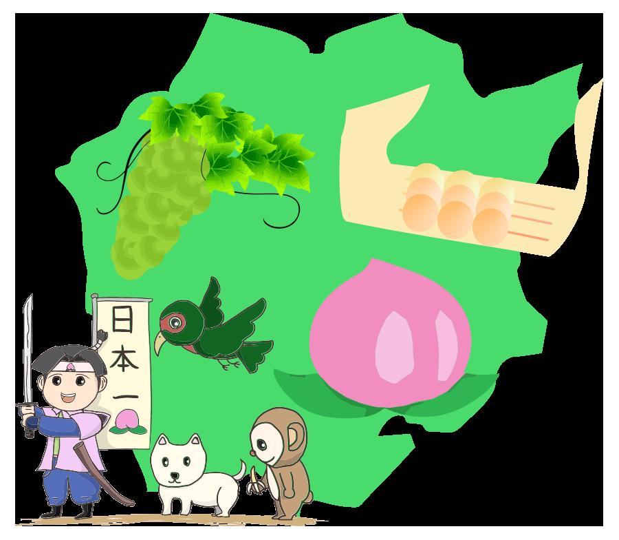 岡山の名産と大陸イラスト